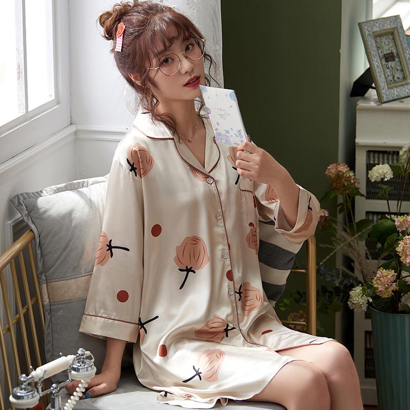 XIFENI/喜芬妮春秋季睡衣女丝绸长袖薄款睡裙秋冬款性感甜美睡袍可外穿家居服夏