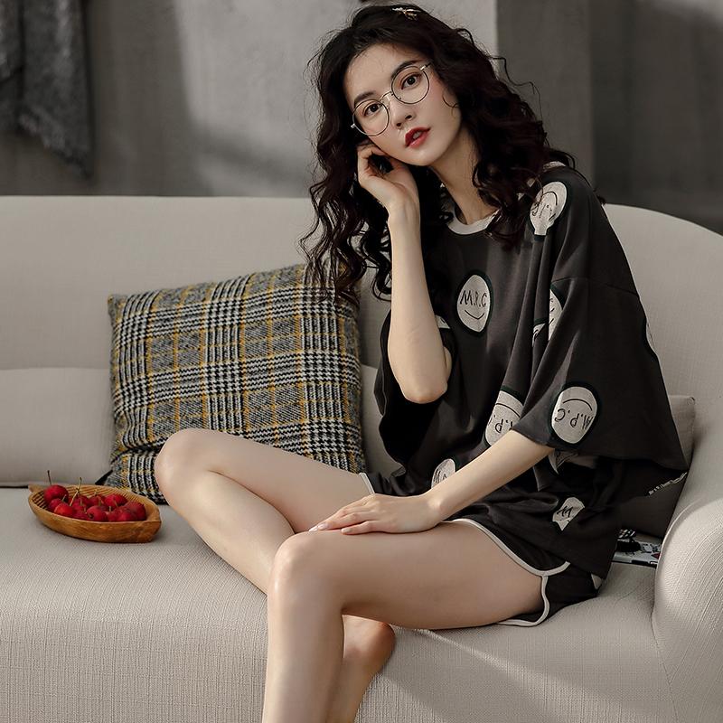 XIFENI/喜芬妮睡衣女春秋纯棉短袖韩版可爱春夏秋季可外穿网红款全棉家居服套装