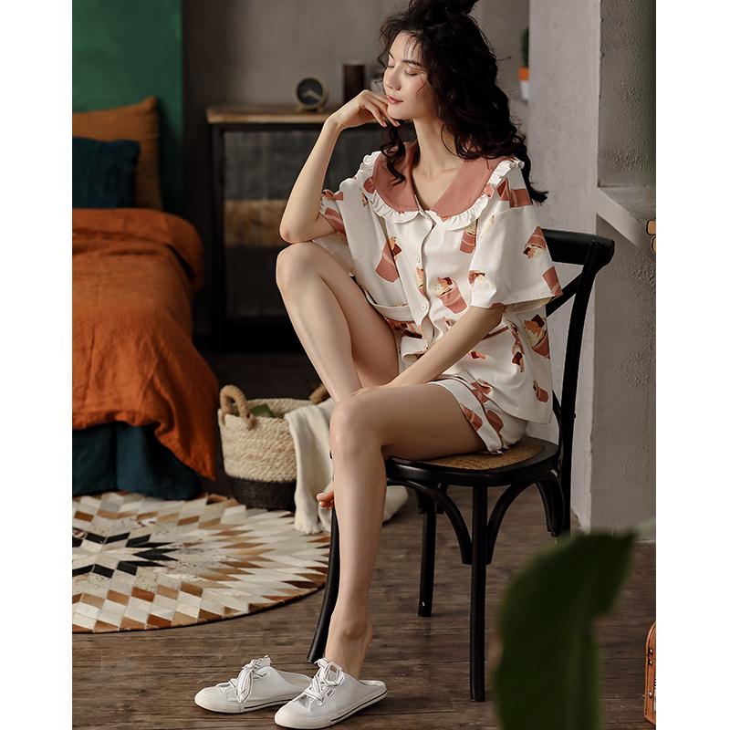 XIFENI/喜芬妮女士睡衣女夏季短袖纯棉春夏秋款全棉韩版甜美可爱家居服套装薄款