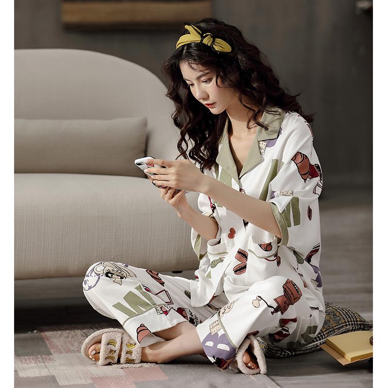 XIFENI/喜芬妮睡衣女士春夏秋款纯棉短袖夏季全棉韩版可爱学生可外穿家居服套装