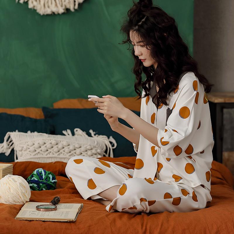XIFENI/喜芬妮韩版春秋季睡衣女纯棉短袖长裤春夏秋款可外穿甜美女士家居服套装