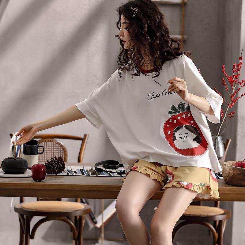 XIFENI/喜芬妮网红睡衣女春夏款季全棉短袖甜美可爱韩版学生纯棉家居服套装夏季
