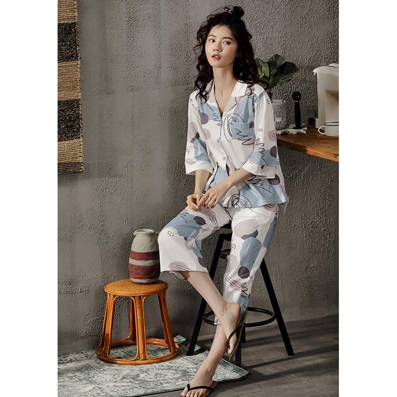 XIFENI/喜芬妮睡衣女春夏秋款纯棉短袖五分袖夏季可外穿全棉女士韩版家居服套装
